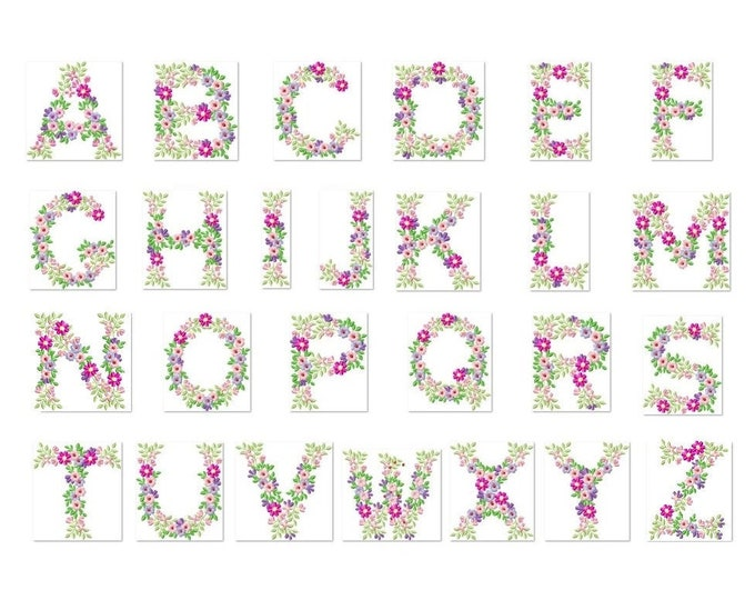 Country Floral whole entire alphabet garden flag monogram liberty fashioned flowers flower Font machine embroidery design 4, 5, 6, 7, 8 in