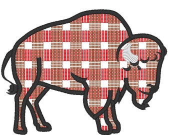 Plaid Bison buffalo Silhouette gingham tartan Machine embroidery applique designs - 4, 5, 6, 7, 8 inches  INSTANT DOWNLOAD