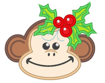 Cute Monkey Holly leaves crown Machine Embroidery Applique Design Christmas monkey head with floral crown Merry Christmas