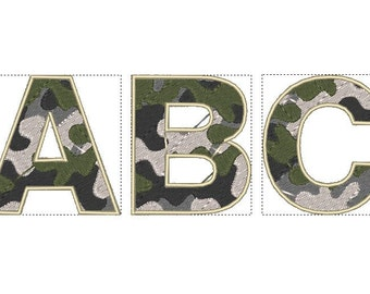 Camo, Camouflage Font machine embroidery designs INSTANT DOWNLOAD Letters A - Z and numbers 0 - 9,sizes 1 1/2, 2, 2 1/2 and 3 inches