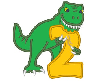 T-rex dinosaur Birthday number TWO 2 machine embroidery Birtday outfit designs - assorted sizes, for hoops 4x4, 5x7, 6x10  INSTANT DOWNLOAD