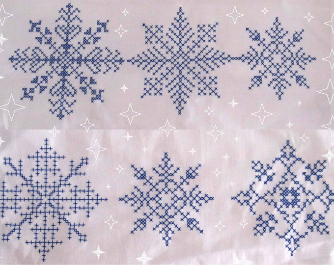 Snowflake cross motif stitch - for machine embroidery - Single 5 Snowflakes - multiple sizes, for hoop 4x4 and 5x7 INSTANT DOWNLOAD