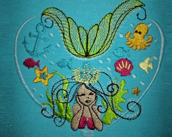 Mermaid heart sketch stitch outline bean triple, lock stitch embroidery designs 4x4 5x7 6x10 - mermaid simply urban curly embroidery design