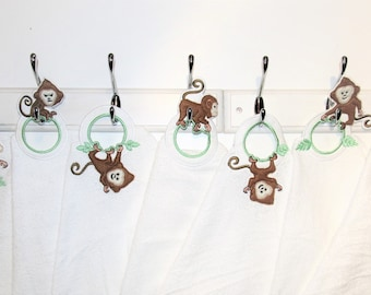 "Monkeys row 7 ""In The Hoop"" machine embroidery designs, WITH project, Towel topper. hanger, hanging hole embroidery ITH designs"