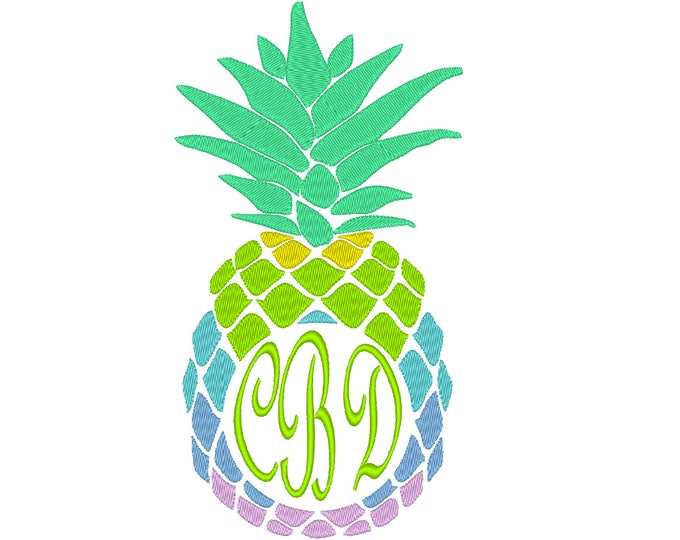 Rainbow Pineapple Frame Design - Welcome - Heart and home  circle Monogram Frame 4x4 5x7 Circle monogram frame