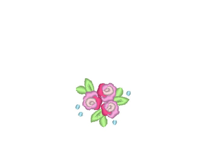Precious accent mini rose, small rose, small flower, mini roses, mini, wee, micro rose machine embroidery designs, sizes 0.4, 0.8, 1 , 1.2