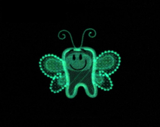 Tooth Fairy - Glow in the dark special designed machine embroidery design, sizes 4x4 and 5x7 INSTANT DOWNLOAD