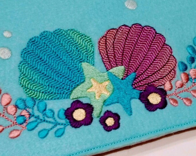 Summer Mermaid shells and sea stars embroidery designs, floral shell mermaid crown assorted sizes 4x4, 5x7 4, 5, 6 and 7 inches