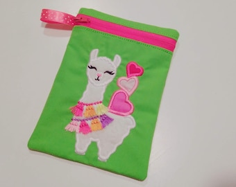 Little Llama with hearts awesome Pouch, Envelope ITH, Pocket, ITH, bag, zip bag, In The Hoop Machine Embroidery designs In-The-Hoop 5x7 6x10