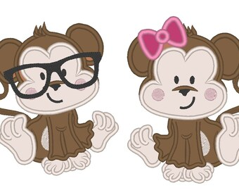 Monkey Nerd and Girly Monkey with bow - machine embroidery and applique designs - for hoop 4x4, 5x7 INSTANT DOWNLOAD