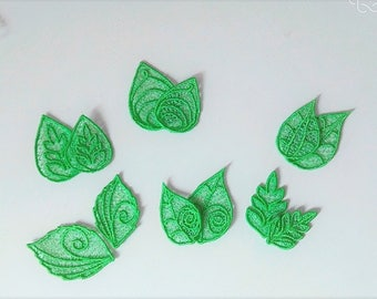 Leaves mini accent, FSL, Free standing lace embroidery design in the hoop ITH embroidery, FSL leaves, Free standing lace leaf design 6 types