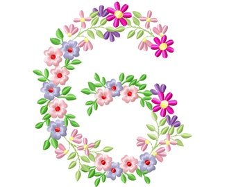 Country Floral birthday number 6 farm flowers number flower flowered Font machine embroidery designs number 6 SIX only 3.5, 4, 5, 6, 7, 8 in