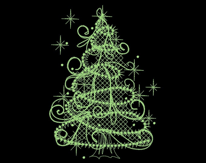Merry Christmas tree / Glow in the dark special designed machine embroidery / size 4x4 5x7 / file