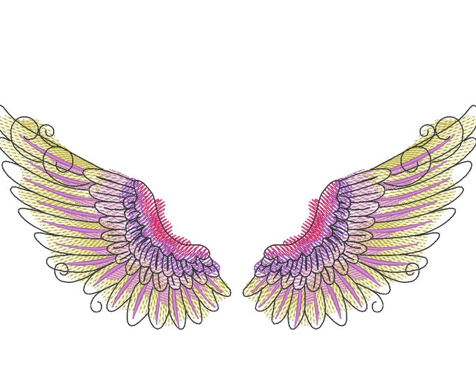 Angel  watercolor wings, urban little baby, quick stitch outline, bean, simply awesome wings embroidery design 4x4 5x5 6x10