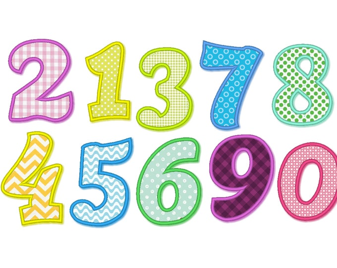 Cute NEW perfect wide satin stitch Numbers birthday theme, birthday numbers, machine embroidery applique designs - 4, 5, 6 and 7 inches