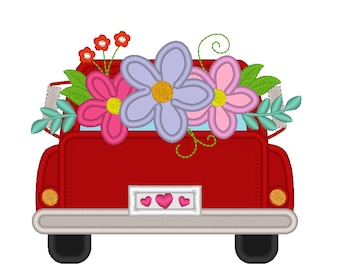 Vintage station wagon red truck back with flowers  in the back, red truck with flowers bouquet machine embroidery applique designs