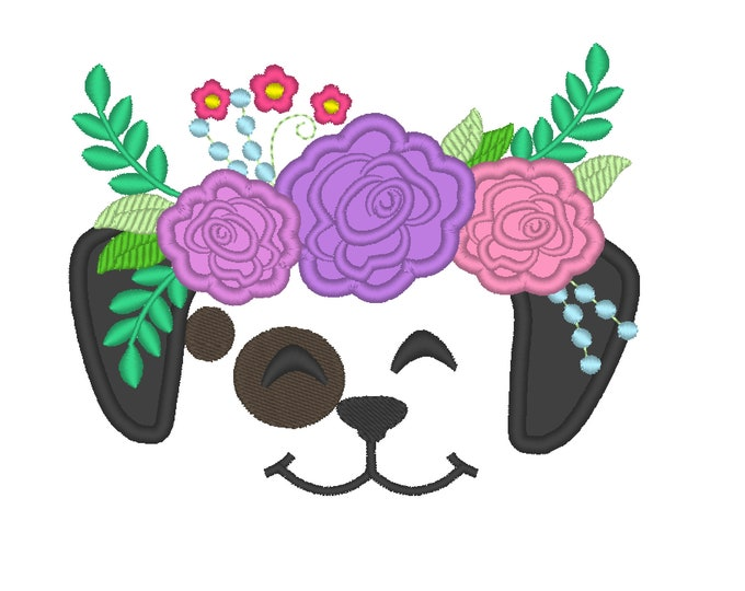 Puppy face with shabby chick roses crown applique machine embroidery designs applique puppy flowers embroidery dog head floral crown