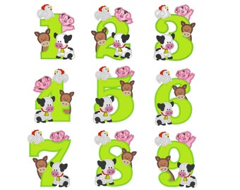 Farm birthday numbers WHOLE set 1 - 9  with cow, pig, horse and rooster - cute farm theme machine embroidery applique designs 5x7 6x10
