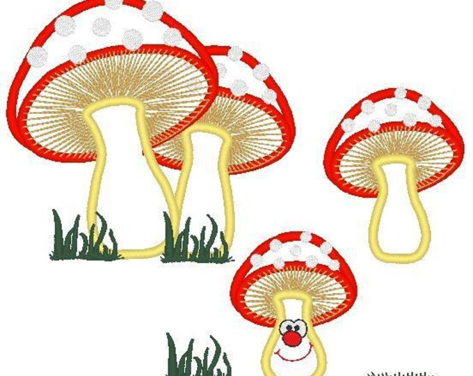 Mushrooms set of single machine embroidery applique designs - INSTANT DOWNLOAD 4x4, 5x7 and 6x10