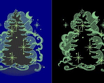 Night Christmas tree glow/ Glow in the dark special designed machine embroidery / sizes 4x4 and 5x7 INSTANT DOWNLOAD