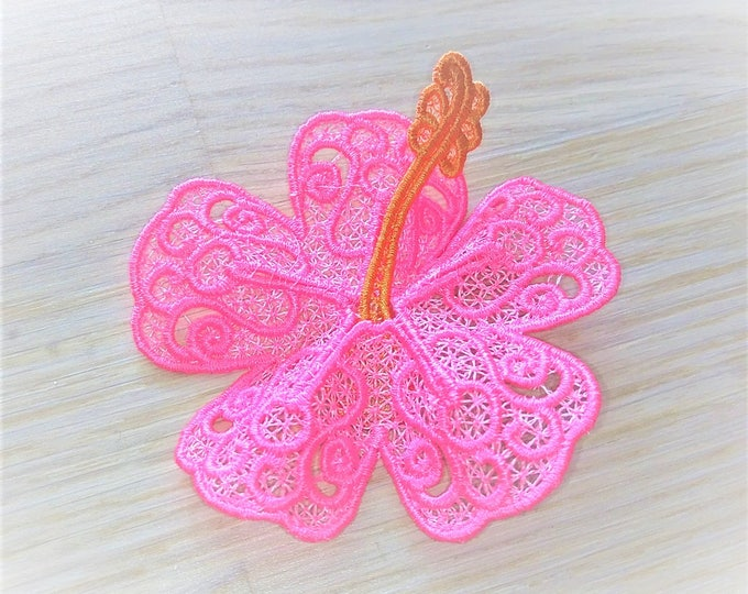 Hibiscus Hawaii summer flower 3D  three-dimensional, 3 dimensional, FSL, Free standing lace embroidery design in the hoop ITH embroidery