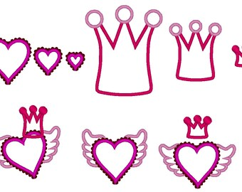 Girl Rock set of 5 single machine applique and filled designs, multiple sizes, valentine heart crown tiara diadem wings INSTANT DOWNLOAD