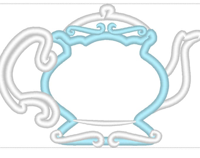 Teapot - alice teaprty birthday theme teapot - machine embroidery applique designs for hoops 4x4, 5x7 INSTANT DOWNLOAD