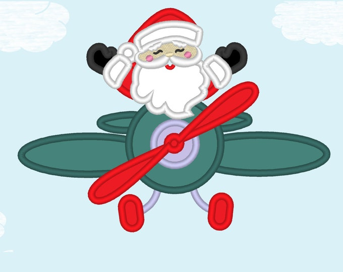 Santa on Christmas Airplane front - machine embroidery design - Santa applique embroidery applique design