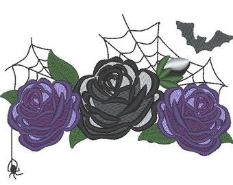 Halloween spooky shabby chick roses flowers crown machine embroidery designs Roses bouquet 3 roses flowers assorted sizes