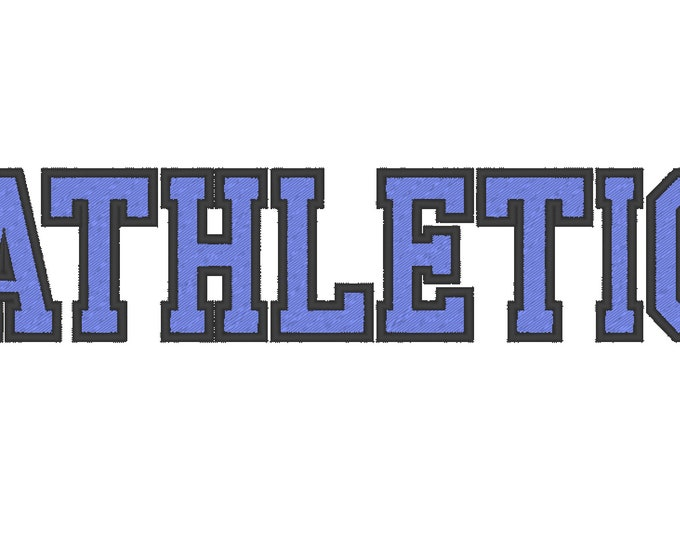 Varsity Collegiate, Collegiate block type Font machine embroidery designs - capital letters and numbers, 2 colors, outline, fill stitch, BX