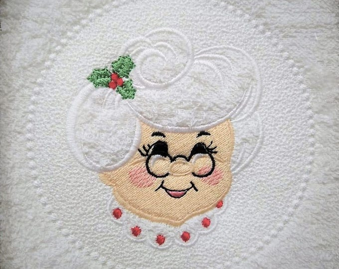 Embossed Terry Towel Mrs. Clause circle design - machine embroidery  designs 4x4 and 5x7, 6x10 INSTANT DOWNLOAD