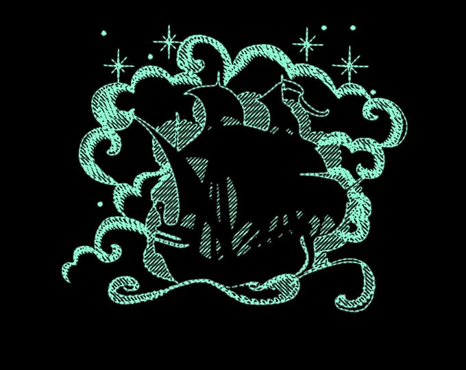 Pirate ship / Glow in the dark special designed machine embroidery / sizes 4x4 5x7 6x10 / Awesome glow embroidery design