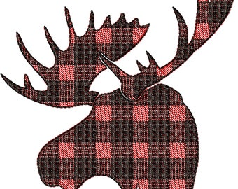 Light stitch outline Plaid Moose head Silhouette gingham tartan Machine embroidery applique designs - 2. 3, 4, 5, 6, 7, 8 inches