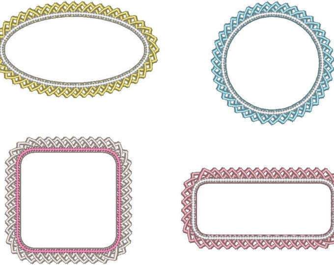 Lace Frames 2 machine embroidery applique designs - SET of 4 types  2, 3, 4, 4 1/2, 5 and 6 inches INSTANT DOWNLOAD