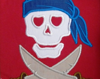 Pirate Skull machine embroidery applique designs, sizes for hoop 4x4, 5x7 and 6x10  INSTANT DOWNLOAD