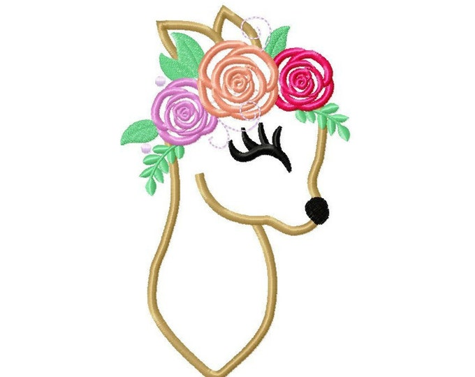 Little Baby deer Fawn head with flowers floral crown roses Applique Design Baby Deer machine embroidery applique designs 4x4 5x7 6x10