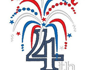 My first 4th, 4th of July and plain fireworks designs INSTANT DOWNLOAD machine embroidery applique design 4 types - 5x7