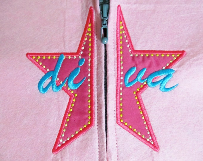 Split Star diva applique split embroidery for hoodie, front embroidery - Machine embroidery applique designs  INSTANT DOWNLOAD