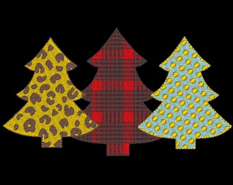 Plaid checked Polka dot Chevron Woodlands Tree Trio Fill stitch light  Triple embroidery design 3 Christmas tree in a row embroidery