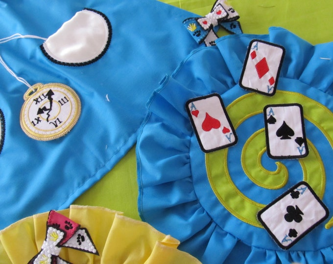 Tea party coasters in-the-hoop and Play cards decoration or banners set Alice in wonderland tea party theme. 4x4, 5x7