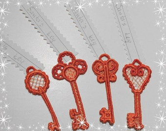 SANTA'S MAGIC KEY, Free standing jewelry embroidery design  4x4  water soluble stabilizer / Christmas embroidery project