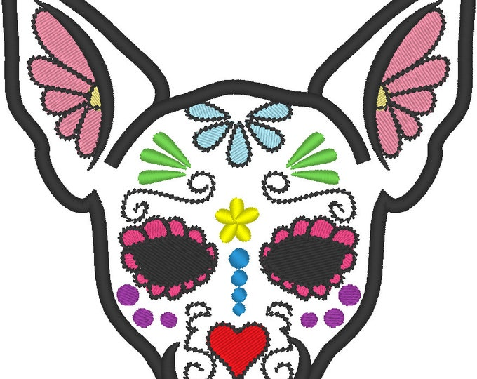 Chihuahua Sugar Skull applique design, dog skull embroidery,  4x4, 5x7 and 6x10