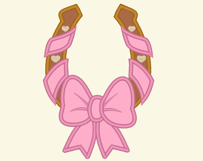 Cowgirl Horseshoe with Bow applique embroidery designs - 3, 4 and 5 inches Curly Horseshoe applique INSTANT DOWNLOAD