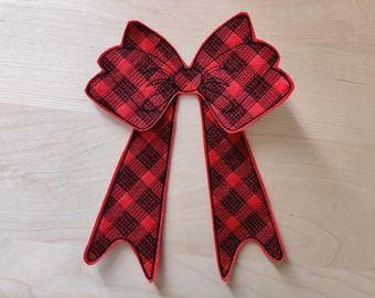 Plaid Checked Christmas bow machine embroidery felt gingham design assorted sizes Christmas decoration - Feltie Designs 4x4 5x7 6x10