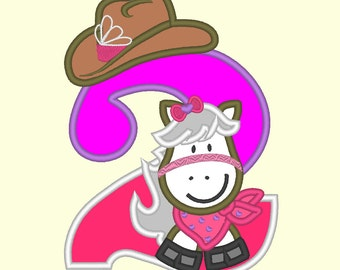 Little Cowgirl Birthday number 2 ONLY - machine embroidery applique designs 5x7 INSTANT DOWNLOAD