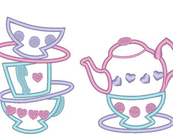 Teapot, teacups stack, Alice birthday party outfit, Mad hatter tea party number applique designs 4x4 5x7 teacups stack of teacup and teapot