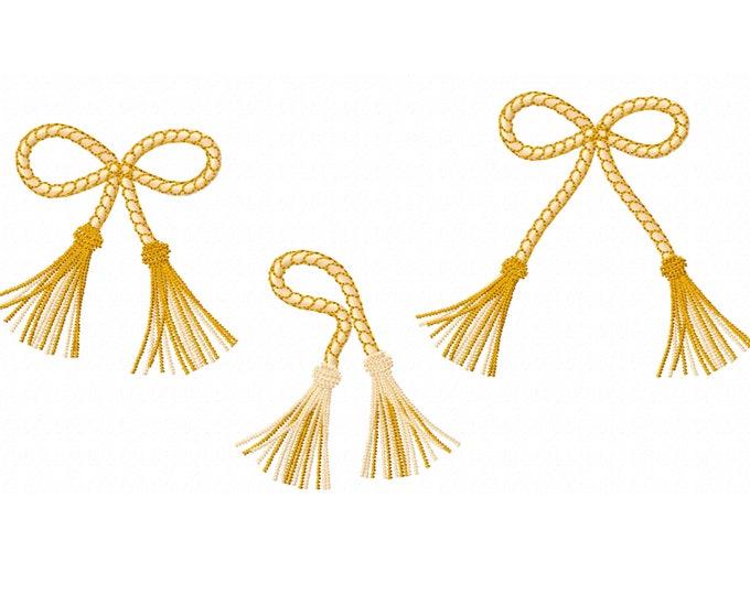Tassels, single tassel SET of 3 tassels machine embroidery designs, tiebacks fringe trim rope hanging ornament knot, INSTANT DOWNLOAD