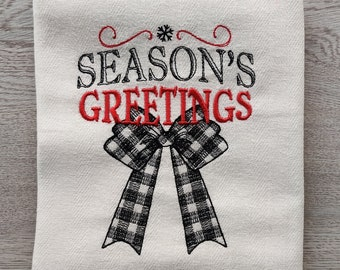 Season's greetings Merry Christmas gingham old fashioned classic Kitchen dish towel quote machine embroidery designs 4x4, 5x7