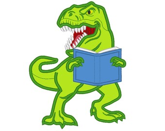 Dinosaur with stack of books machine embroidery applique designs - assorted sizes, for hoops 4x4, 5x7, 6x10  INSTANT DOWNLOAD