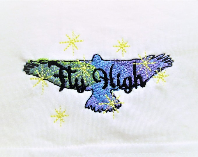 Fly High eagle silhouette sketch stitch outline bean quick triple, lock stitch, simply urban embroidery design, wild and free